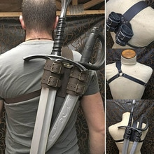 Witcher Medieval, funda de doble espalda para espada, soporte para Cutlass, Vikingo, Pirata, Guerrero, Funda de cuero, disfraz de Larp para Cosplay