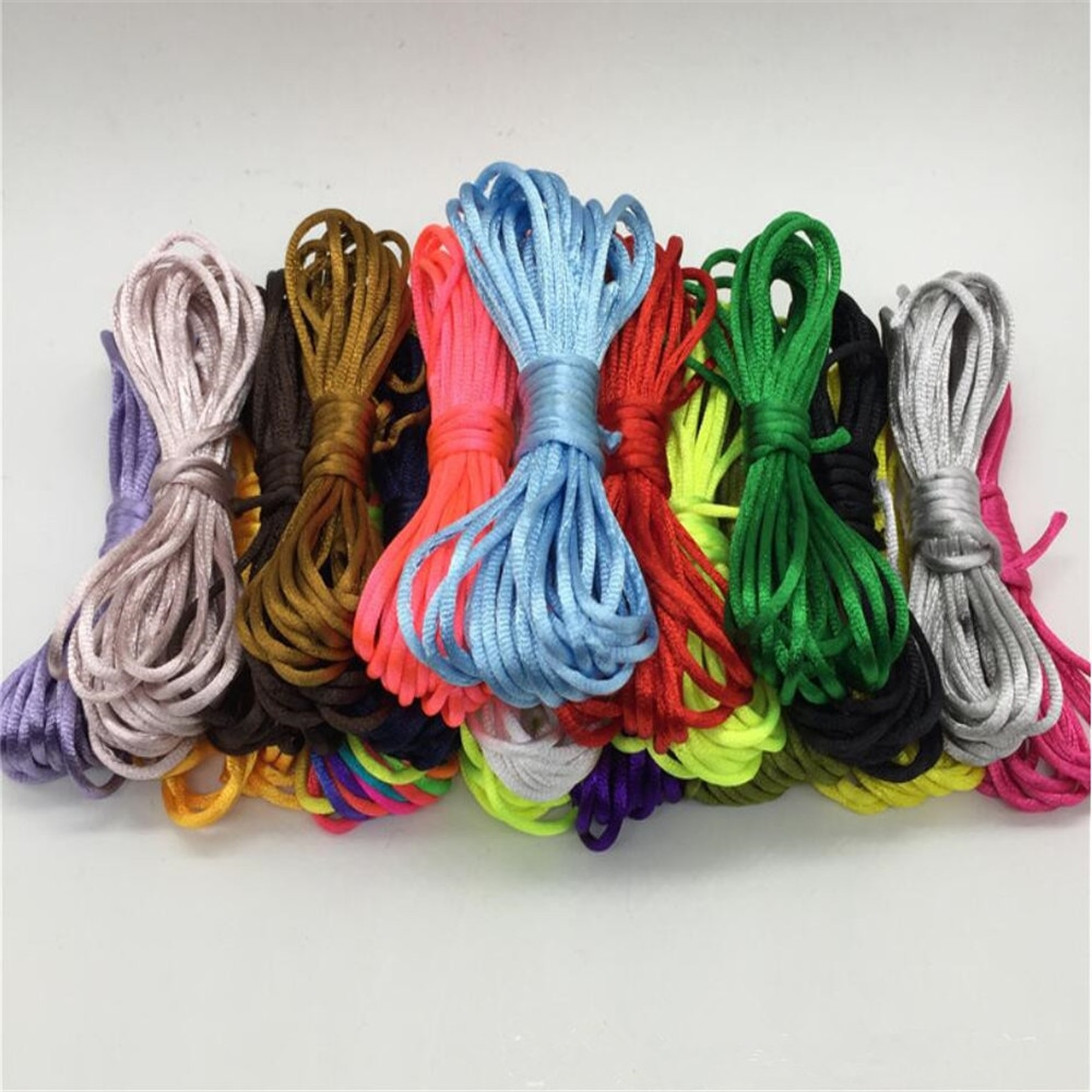 2017 0 8mm 100m spool macrame rope satin rattail nylon cords string kumihimo chinese knot cord diy bracelet jewelry findings 2mm Rattail Silk Satin Cord, Shamballa Kumihimo Macrame Cord Assorted Colors Nylon String for Beading Jewelry Making 20meters