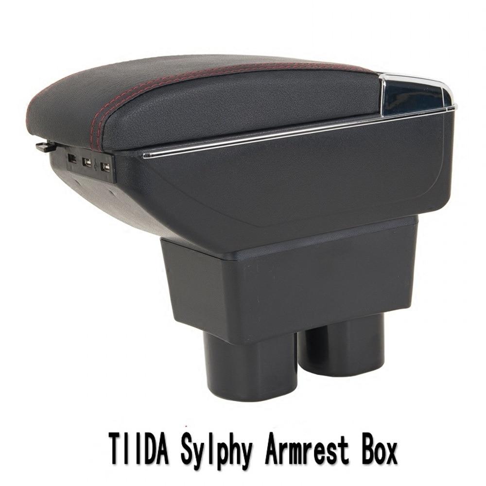 Pour Nissan Tiida Bluebird accoudoir boîte magasin central contenu boîte avec support de verre cendrier USB Sylphy Tiida accoudoirs boîte