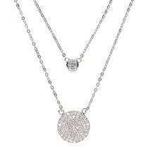 Authentique réel 925 en argent sterling rond AAA + plein cz pendentif à breloque disco pour les femmes de luxe double couche sexy collier usine