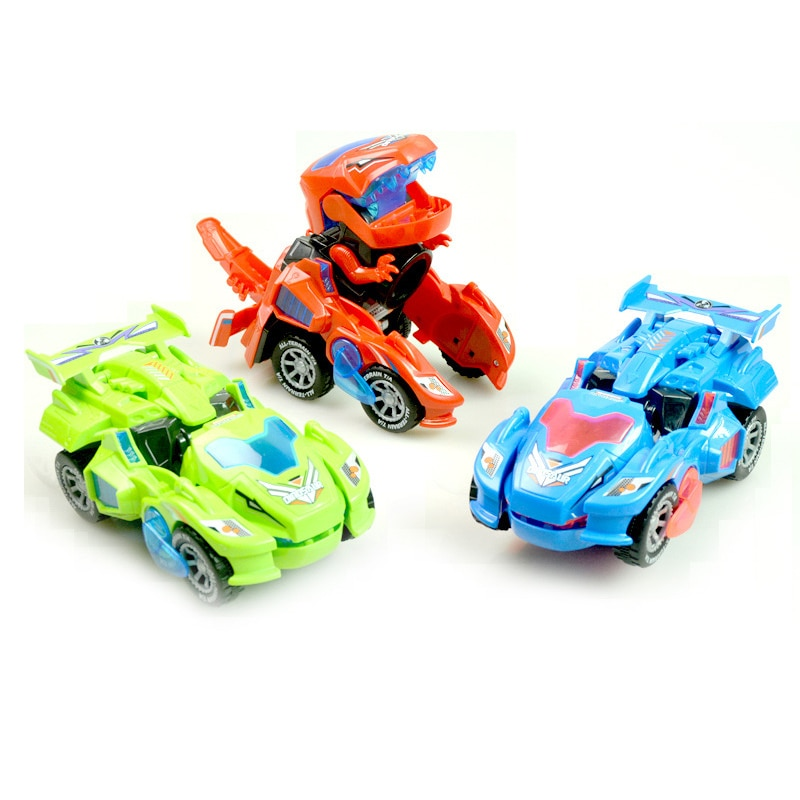 Electric Dino Vehicle Magic Car Toys Transforming Dinosaur Toys Led Car Sound Auto-deformed Dino Racer Kid Car For Boys Gifts