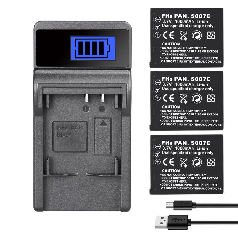 CGAS007 Batterie Ladegerät Für Panasonic Lumix DMC TZ50 TZ15 TZ5 TZ1 TZ2 TZ3 TZ4 Kamera Batterie CGA-S007 S007E 1000mAh
