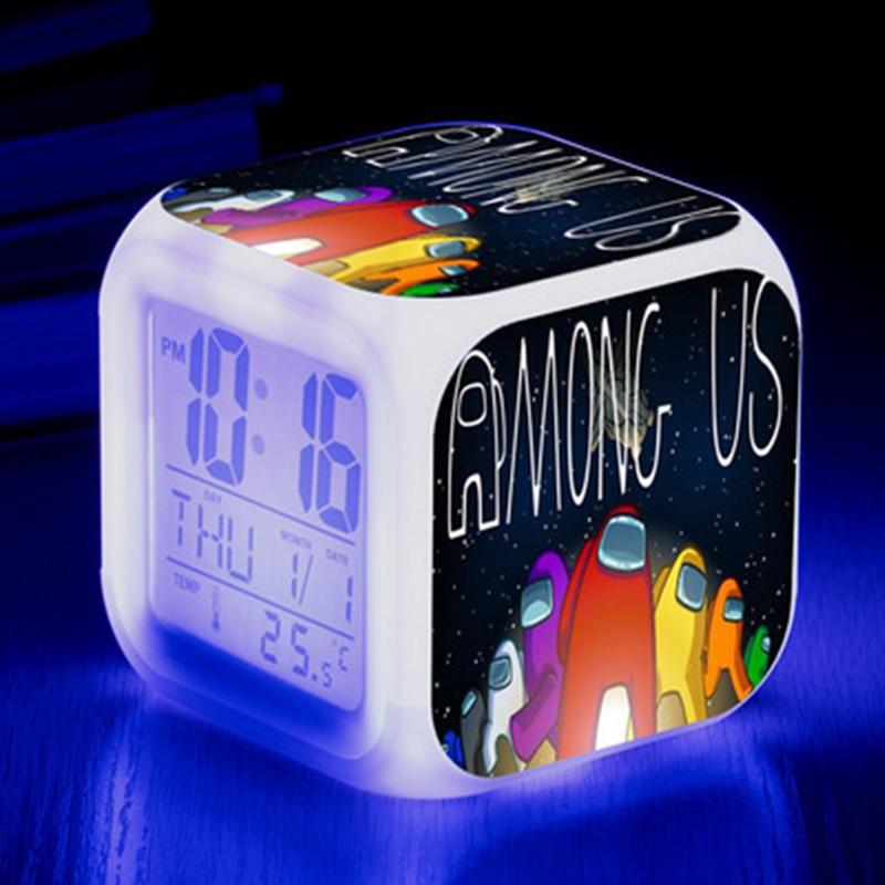 Among Us Game Figure Luminous LED Alarm CLock Colorful Flash Desk Light Action Model Toys For Kids Children Gift