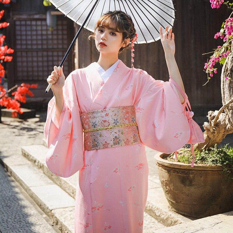 Japan Traditional Kimono Dress Oriental Elegant Yukata Woman New Year Festival Kimono Obi Vintage Cosplay Costumes lovelive love live ayase eli flower kimono yukata dress uniform outfit anime cosplay costumes