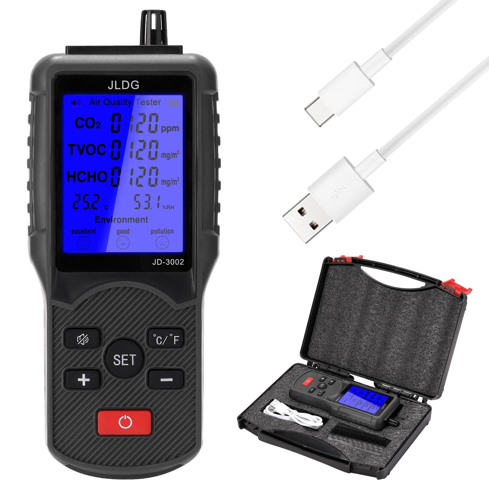 متعددة الوظائف الهواء جهاز اختبار جودة الماء CO2 TVOC متر درجة الحرارة الرطوبة قياس جهاز مراقبة ثاني أكسيد الكربون مع شاشة LCD