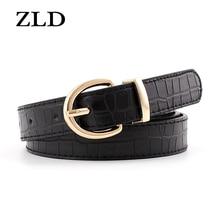 ZLD Vintage classice golden pin buckle women belt fashion Crocodile pattern All-match belts trendy c
