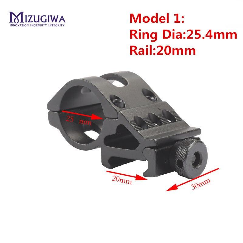 45 Degress Offset Rifle Flashlight Torch Laser Mount 19.5mm / 25.4mm / 30mm Ring Picatinny Rail 20mm Weaver Rifle Sight Pistol