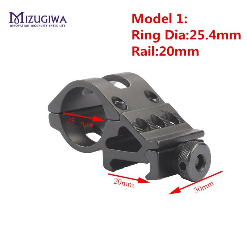 45 grados, linterna para Rifle Offset, soporte láser, 19,5mm/25,4mm/30mm, riel Picatinny 20mm, fusil, Tejedor, mira para pistola