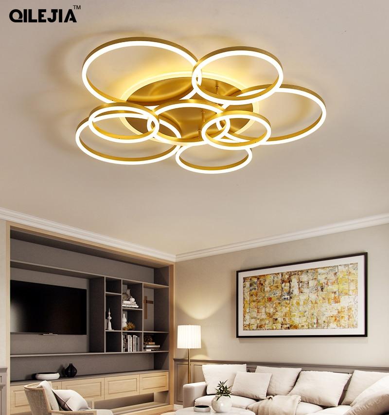 Candelabro Led para sala de estar dormitorio estudio candelabro de color dorado con control remoto 3/5/8 anillos con soporte circular 85-265V