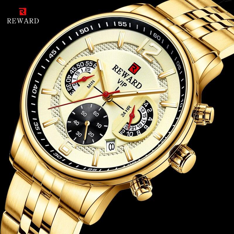 مكافأة الذهب الرجال ساعات كوارتز الفولاذ المقاوم للصدأ الفاخرة مقاوم للماء ساعة اليد كرونوغراف الرجال Relogio Masculino