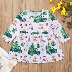 Winter 2020 Girls Dress Baby Girls Cute Dress Long Sleeve O Neck Print Car Cute Girl Dress Vestido 6M-4T