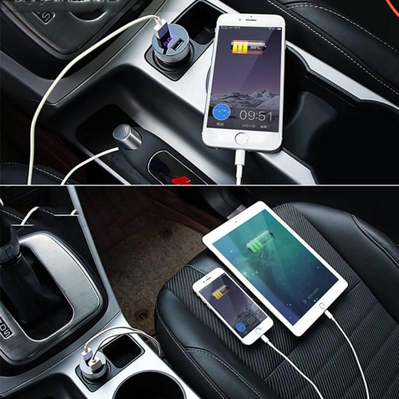 Nuevo cargador de coche de Metal con LED Dual USB 5V 3.1A de carga rápida para Lada Priora calina Granta Vesta Niva Largus vaz x-ray samara