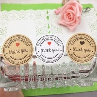 300pcs 3 5cm Round  Thank you  Kraft Adhesive gift Seal Sticker cute Label for baking festival DIY work  food