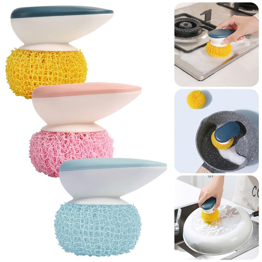 Кухонная щетка для мытья посуды, щетка для чистки посуды с ручкой, инструмент для чистки, не царапает масло, моющее средство, варочная поверх...