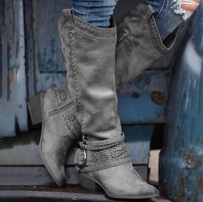 Botas hasta la rodilla de ante negro color piel, Botas con puntiagudas para Mujer, zapatos de tacón con hebilla, zapatos planos de Botas Largas para invierno, Botas de caballero para Mujer