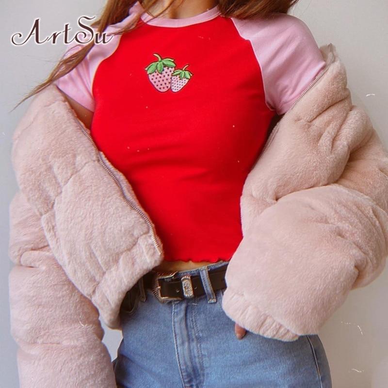 Artsu casual morango algodão tshirts feminino verão manga curta rosa colheita camiseta bonito streetwear camiseta moda asts21530
