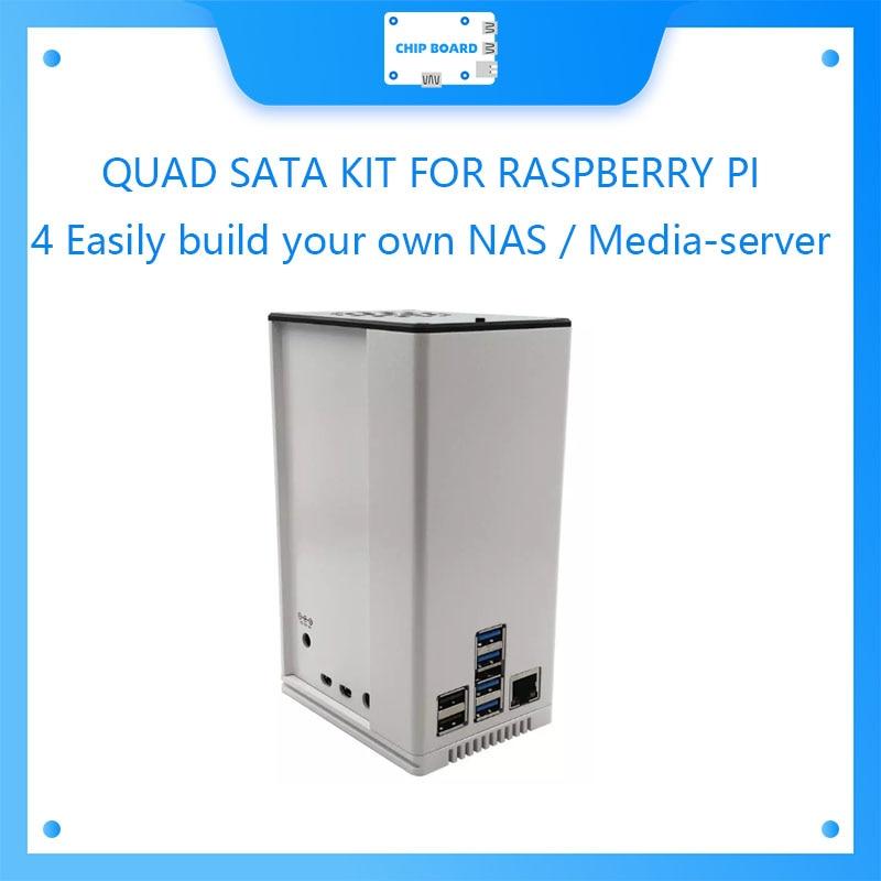 مجموعة SATA رباعية لـ RASPBERRY PI 4 ، يمكنك بناء NAS بسهولة