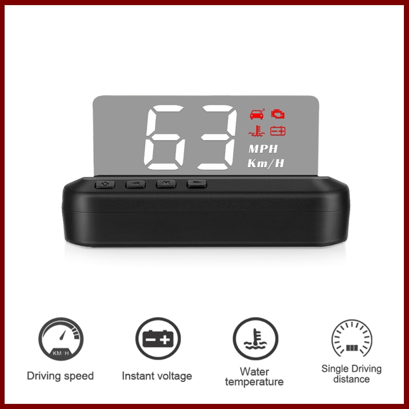 OBD HUD Head-up display Car Speed Projector Auto Speedometer KMH/MPH Compatiable with All cars, Truck Vehicle autool x50 pro obdii hud obd head up display car speed meter scanner multi function automobile speedometer with fault diagnosis