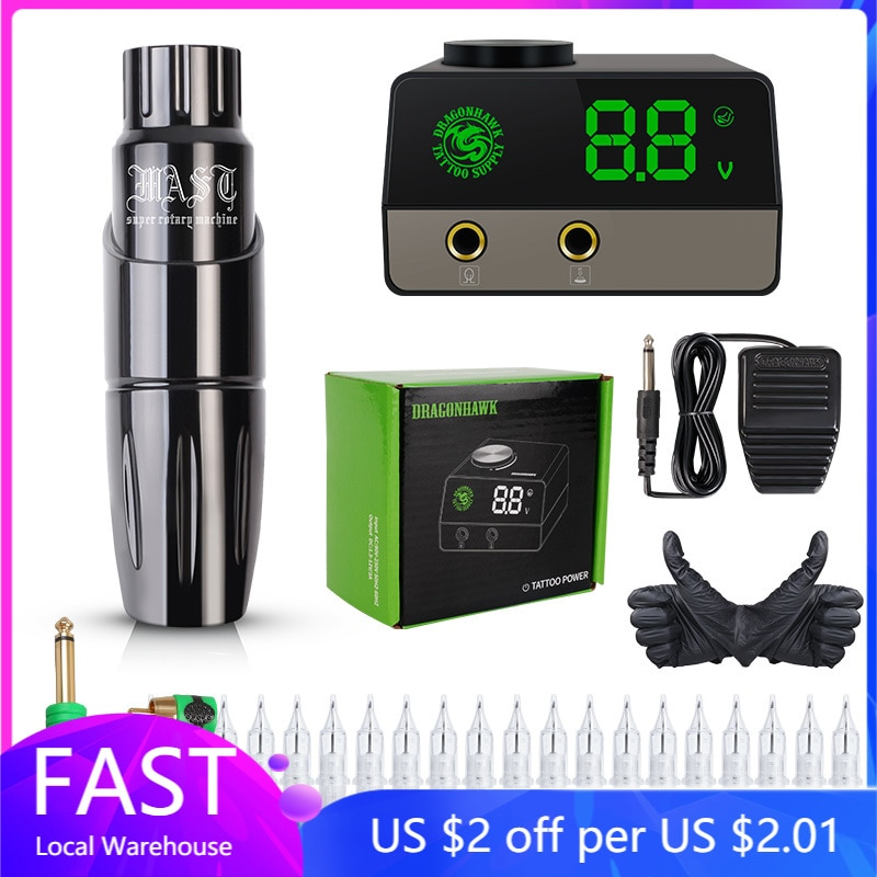 Professional Tattoo Pen Machine Mast Tour Set Tattoo Kit Rotary Pen Permanent Makeup Set LCD Power Supply tattoo rotary machine pen style set tattoo kit lcd power pedal tattoo supply free delivery permanent makeup machine assortment