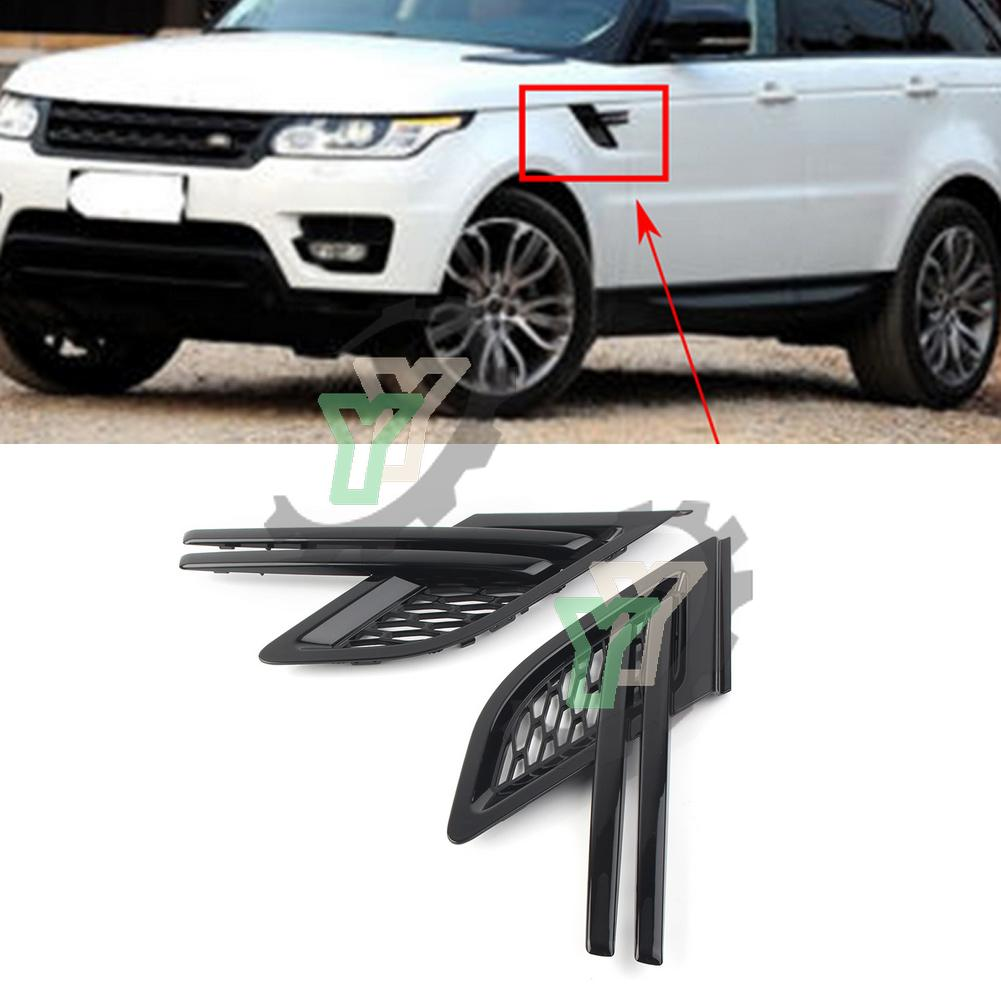 For Land Rover Range Sport RRS 2014 2015 2016 2017 Black ABS Plastic 2Pcs Car Side Air Vent Mesh Grill