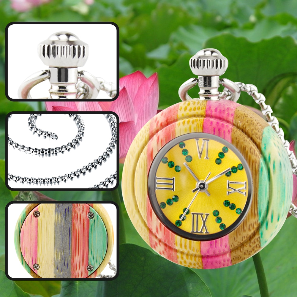 New style wooden pocket watch quartz watch customized chain fashion round watch Japanese imported mo