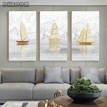 Abstract Gouden Zeilboot Canvas Schilderij Minimalistische Landschap Poster Print Nordic Wall Art Foto Ingang Decoratie