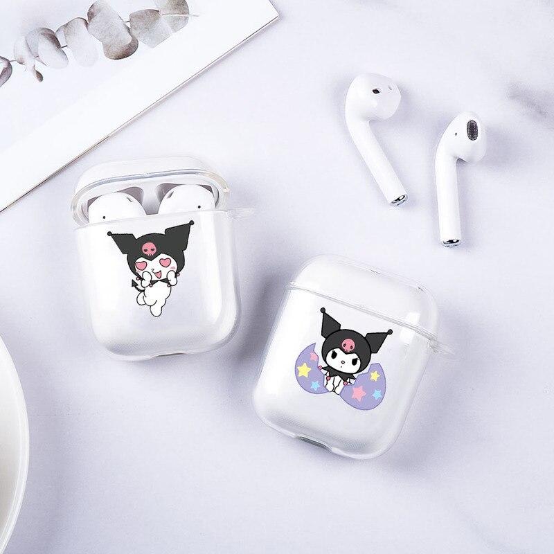 Kuromi, bonita funda transparente de silicona suave TPU para auriculares Airpods 2 1, funda de Carga de auriculares inalámbrica Bluetooth