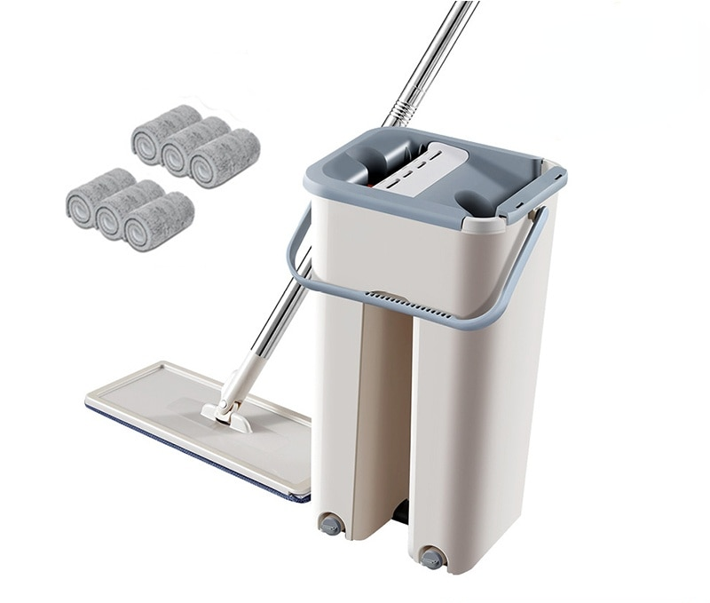 flat mop high quality aluminum alloy mop floor mop cleaning tool stainless steel rod Squeeze Mop with Bucket Hand Free Floor Mop Household Cleaning Tool 360 Rotating Flat Mops