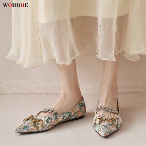Wohdhe Flower Print Flat Women Loafers Buckle Chain Pointed Toe Leather Slip On Luxury Brand Spring Summer Boats Comfortable