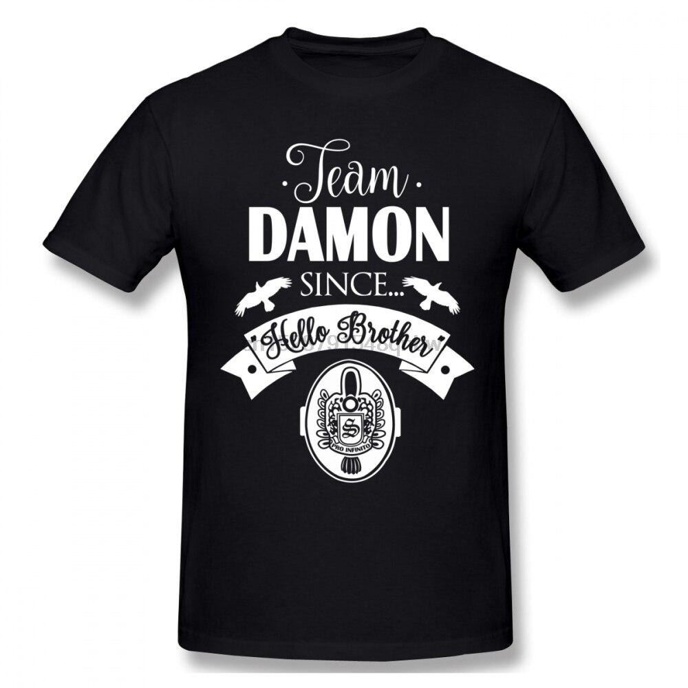 The Vampire Diaries Damon Salvatore hombres camiseta nuevo superventas 4XL 5XL 6XL o-cuello de algodón de manga corta Camisetas Personalizadas Homme