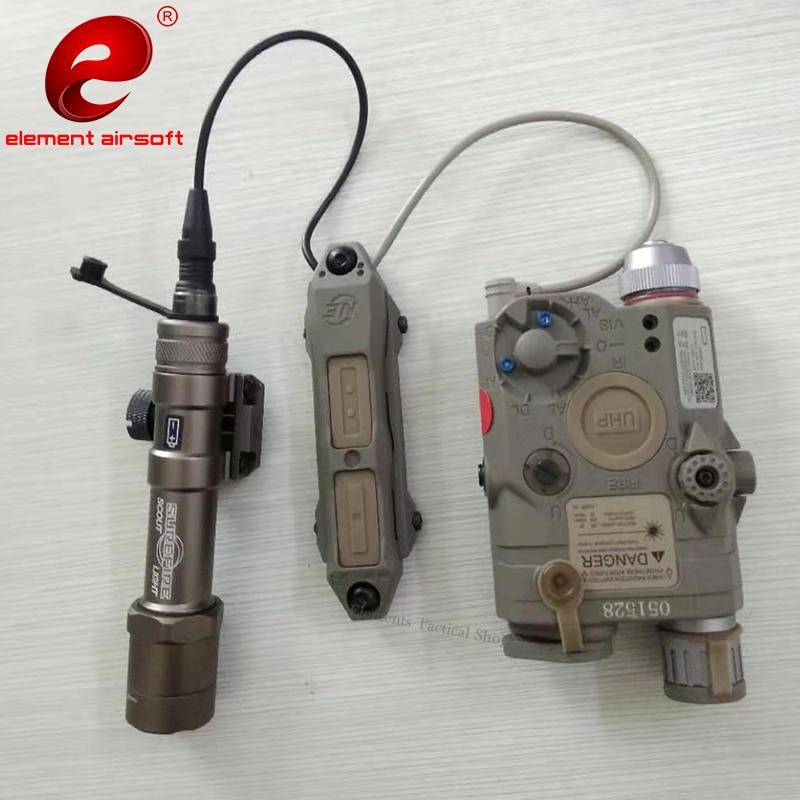 Elemento airsoft tático lanterna caça peq 15 peq15 pressão interruptor duplo peq laser arma luz interruptor dbal