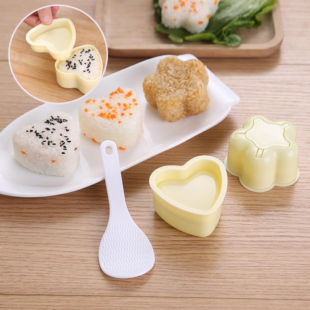 3 Pçs/set Sushi Rice Ball Mold Onigiri Bento Bento Imprensa Criador Mold DIY Kitchen Tools Utility Acessórios # Y5