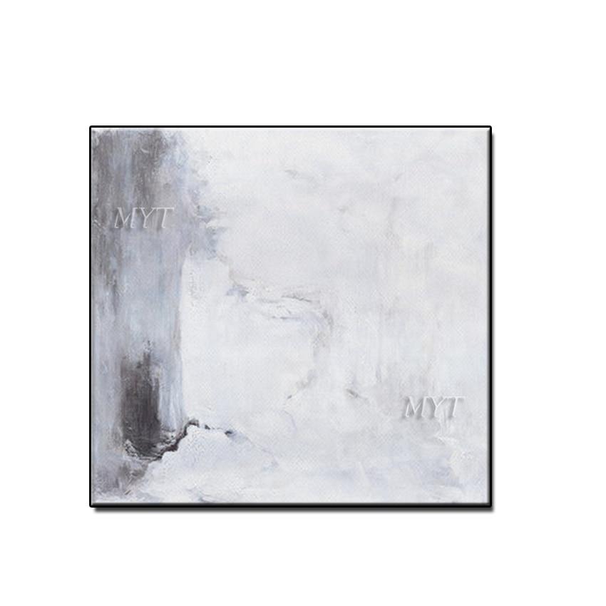 Envío Gratis Color gris y blanco diseñado moderno cuadro pinturas al óleo en lienzo pinturas pintadas a mano arte de la pared sin marco