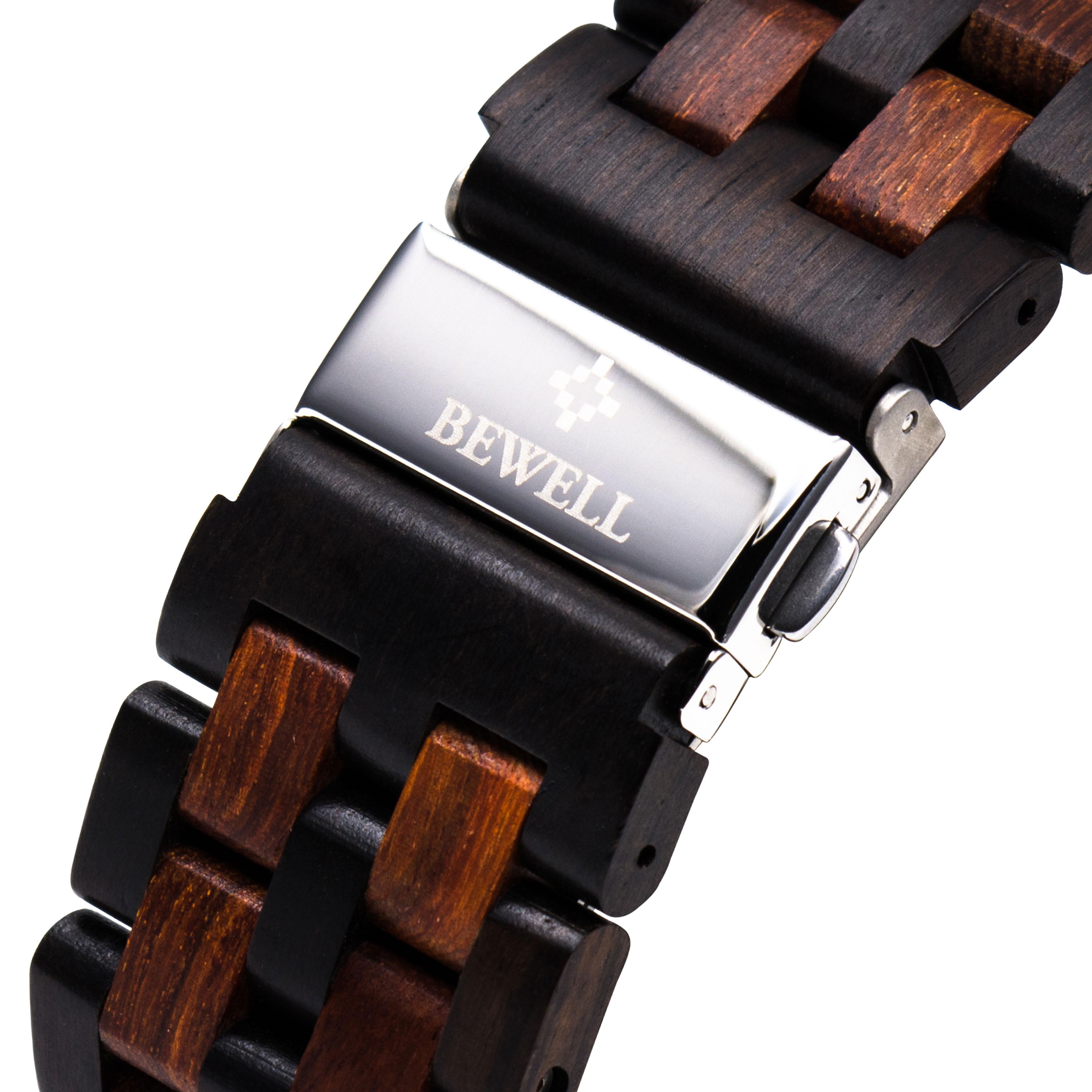 BEWELL Luxury Brand Men's Wood Quartz Wrist Watch Men Sport Waterproof Watch Man Chronograph Clock Relogio Masculino 109D enlarge
