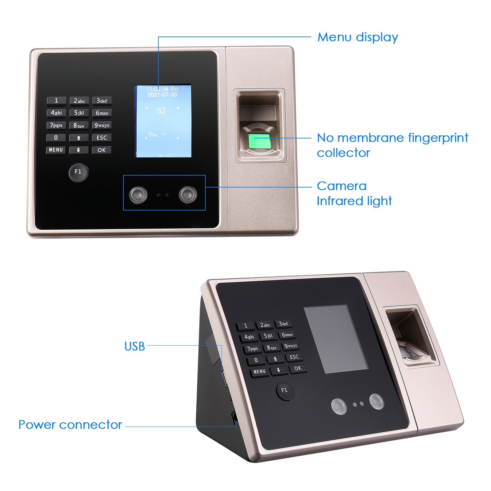 Enterprise Employee Clock Biometric Fingerprint Face Digital Attendance Terminal Online Work Attendance Check-in Machine enlarge