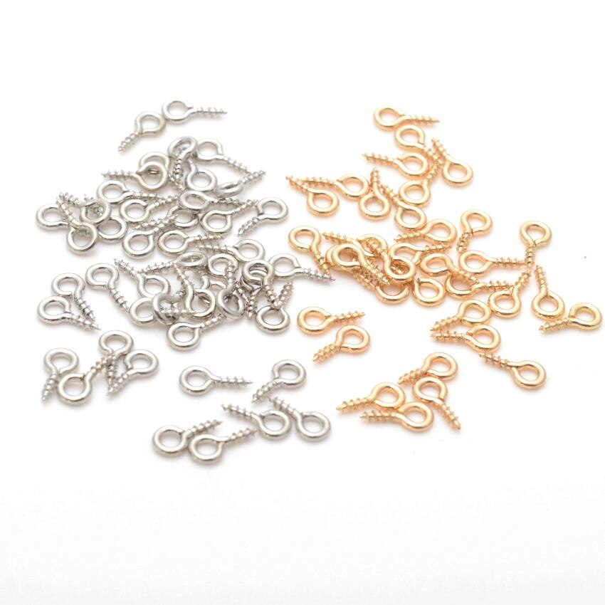 Jewelry Findings Diy Mini Eye Pins Eye pins Hooks Eyelets Screw Threaded Metal Jewelry Pendant Clasps