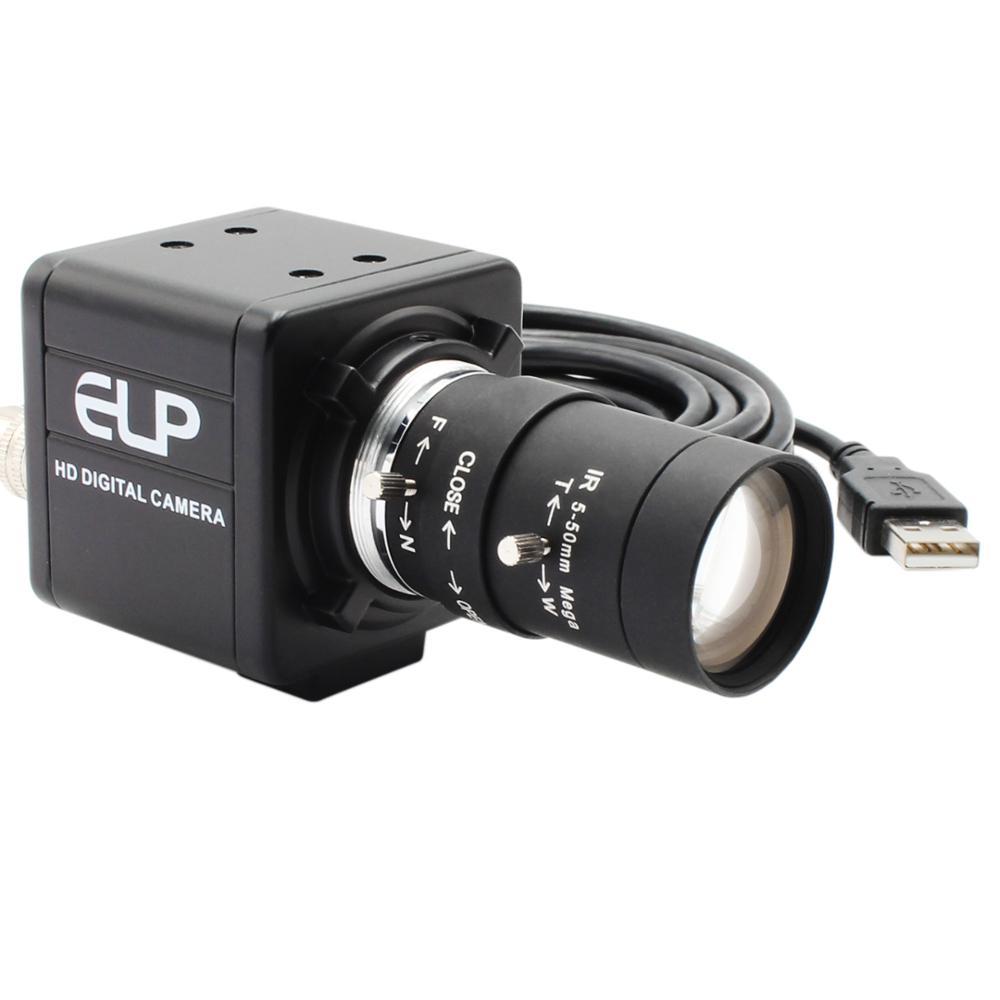Obturador Global 60fps 720P monocromo negro blanco CS montaje Varifocal 5-50mm Webcam UVC Plug Play cámara USB con Mini funda