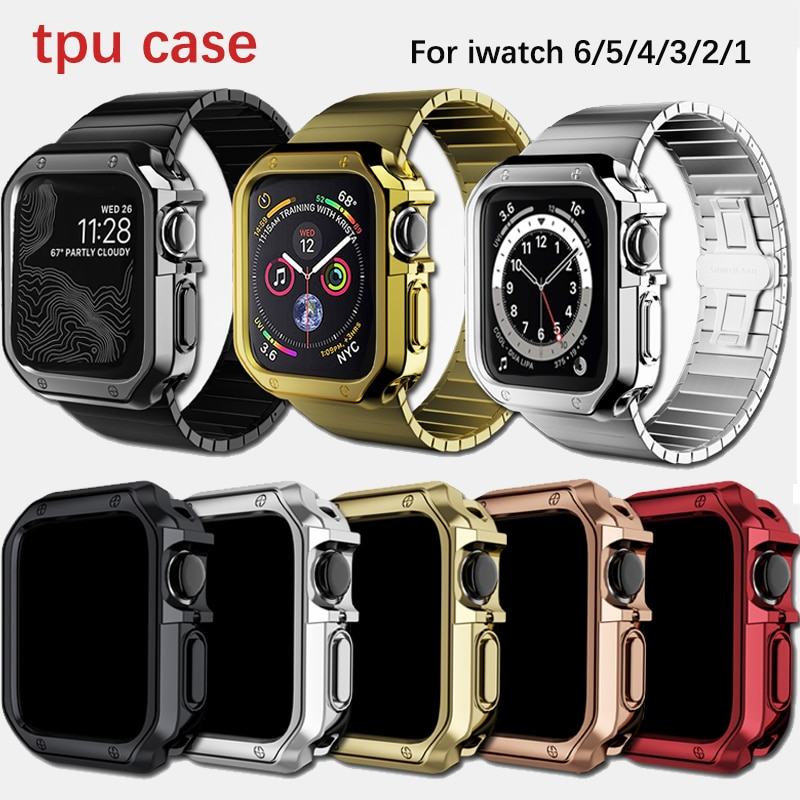 case for apple watch series 6 5 4 3 2 1 se band all around ultra thin screen protector cover iwatch case 44mm 40mm 42mm 38mm Watch Cover for Apple Watch Band Case 6 SE 5 4 3 2 1 42MM 38MM Soft Clear TPU Protector for iWatch series 4 3 44MM 40MM strap