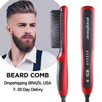 Multifunctional Beard Straightener Hair Styler Brush Tool Heat Ceramic Electric Straightening Iron Hair Curler Care Hot Comb