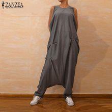 Plus Size Overalls ZANZEA Womens Jumpsuits Sleeveless Baggy Pantalon Harem Pants Rompers Female Drop Crotch Playsuits Rompers
