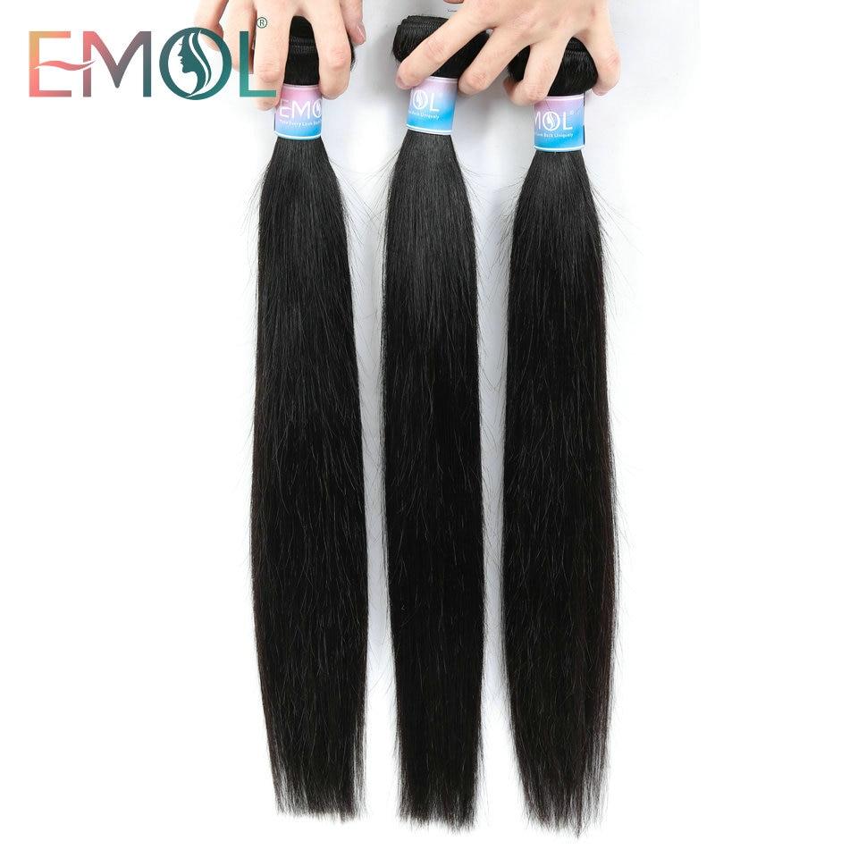 Emol Brasilianische Gerade Haar Bundles 100% Menschliches Haar Weben Bündel 8-28 Zoll Nicht-Remy Haar Extensions 1/3/4 stücke