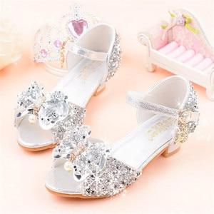 Princess Girls Party Shoes Children Sandals Bow Sequins High Heels Shoes Girls Sandals Peep Toe Summer Kids Shoes High Heels