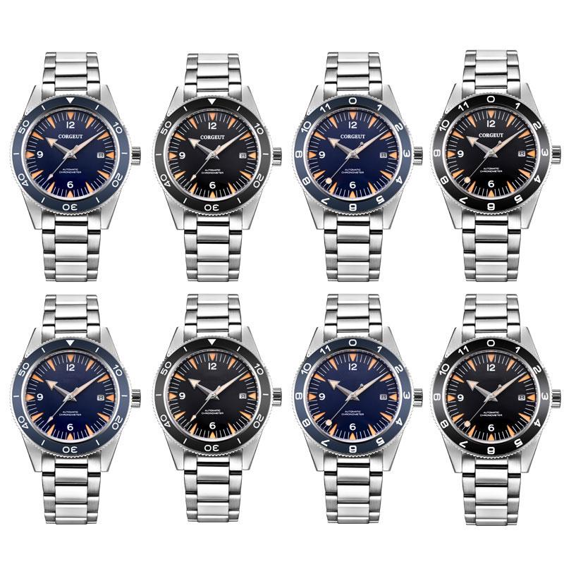 Mens watch 41mm steel band sterile luminou dial Sapphire miyota automatic movement date waterproof ceramics bezel wristwatch men