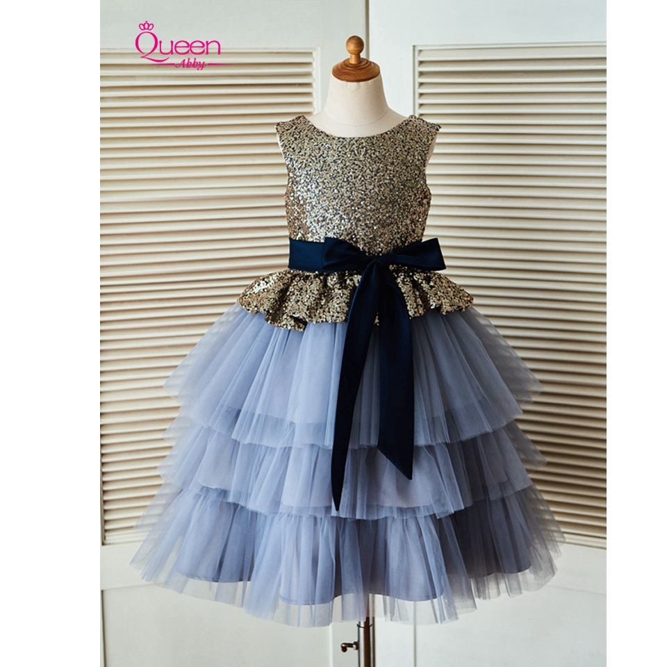 Vestido de baile escalonado vestido de niña de flores 2019 lentejuelas brillantes vestido de tul con gran lazo champán azul gris cremallera Up vestido