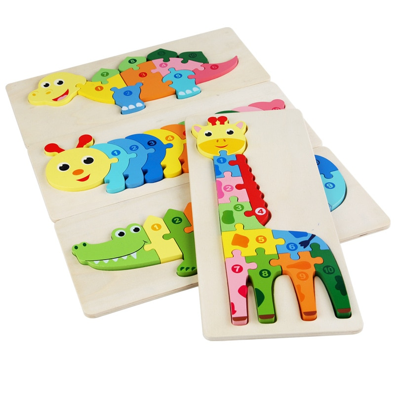 Cartoon Animal 3D Wooden Puzzle Baby Montessori Toys For Toddlers Early Learning Cognition Education
