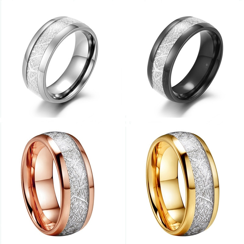 JIOROMY Fashion Jewelry Men Ring Texture Stone Rings Stainless Steel Gold Color Crack Black Couples
