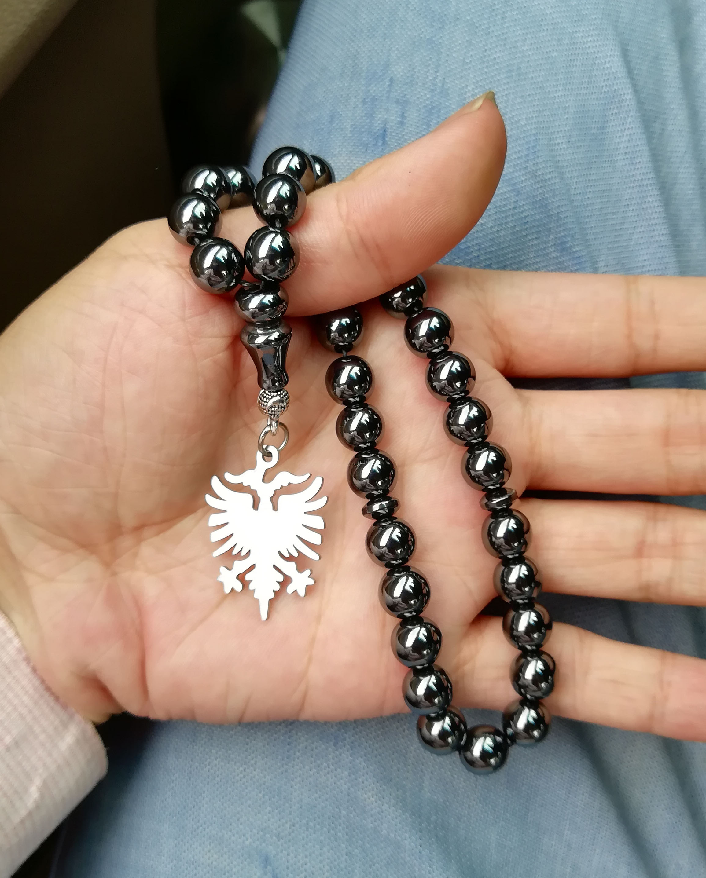 Collar con anillo de la bandera de Albania/kosovar de tasbih, mapa de Shqiperise, Rosario de cuentas de oración, regalo de tesbih, parches de pin para funda de teléfono Kosoves