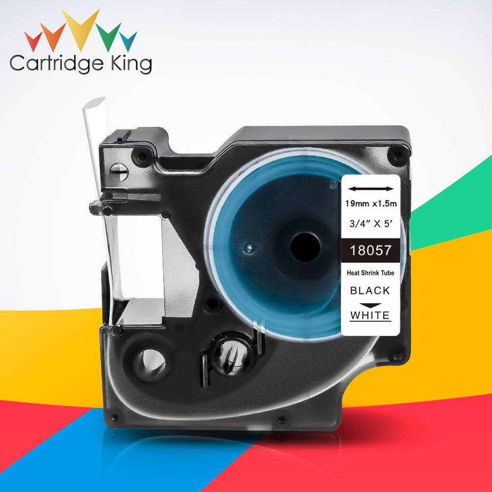 "Cintas de etiquetas de 3/4 ""19mm Tubo termorretráctil 18057 negro sobre blanco fabricante de etiquetas Compatible Dymo Rhino 6500 6000 5200 5000 cinta de impresora"