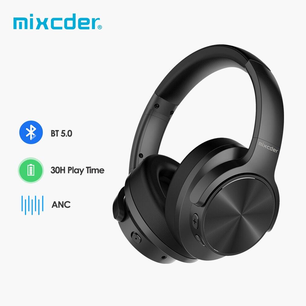 Mixcder E9-سماعات الرأس الفعالة لإلغاء الضوضاء، تعمل بنظام بلوتوث, تشغيل 30 ساعة، مع HiFi صوت جهير عميق
