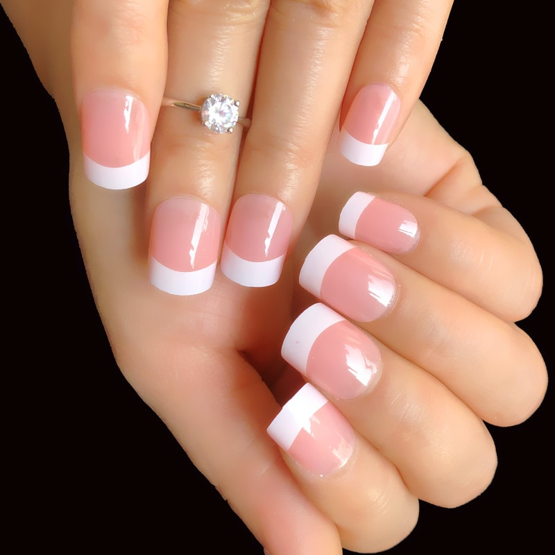 aliexpress.com - 24pcs Natural Nude White French Nail Tips  Fake Nails Press on Ultra Easy Wear for Home Office Wear Summer Short False Nails